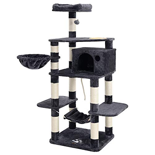 """SONGMICS 69"""" Multi-Level Cat Tree with Feeder Bowl - Sisal-Covered Scratching Posts - Hammock - Basket and Condo - Activity Centre for Kittens - Cats and Pets - Large - Smoky Gray UPCT99G"""