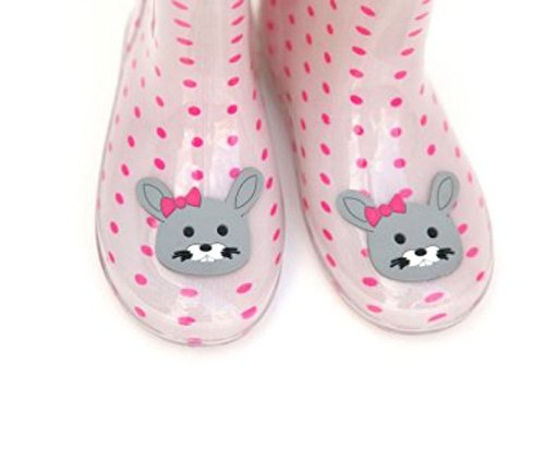 Funky kids wellies - pink polka dots and bunny rabbit face (uk8):  Amazon.co.uk: Shoes & Bags