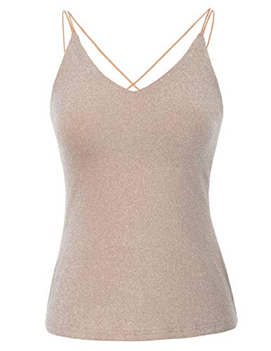 Women's Sexy V Neck Strappy Sleeveless Metallic Crop Top Rose Glod, Large - Metallic Knit Tank