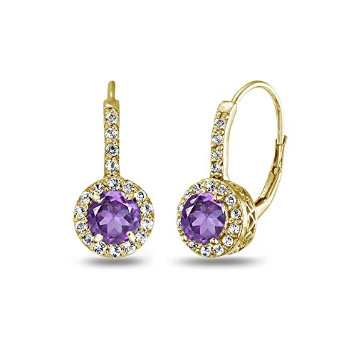 Yellow Gold Flashed Sterling Silver African Amethyst & White Topaz Round Dainty Halo Leverback Earrings