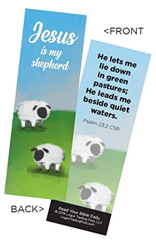Children's Christian Bookmark - Jesus is My Shepherd | Psalm 23:2 | Pack of 25 (Jesus Bookmark)