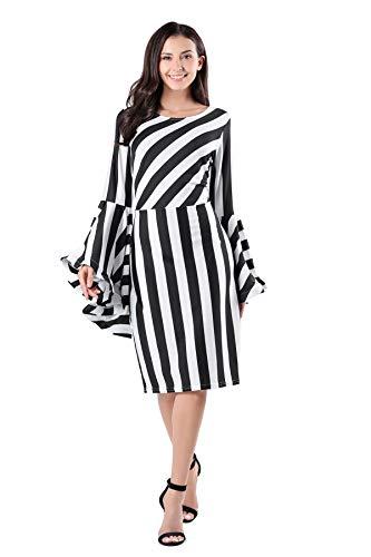 Vcegari Women's Round Neck Plus Size Slim Cut Striped Long Flare Bell Sleeve Dress -