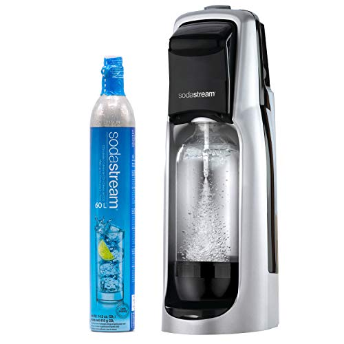 (SodaStream Jet Sparkling Water Maker (Silver), with CO2 and BPA free Bottle )