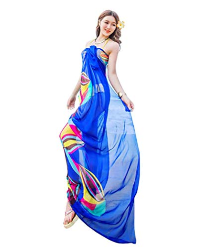 - GERINLY Large Sarong Wrap for Women Plus Size Beach Cover Up Chiffon Thin Bathing Suit Wrap Skirt Geometrical Design (Blue)