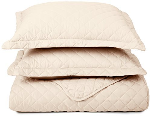 Clara Clark 3-Piece Quilt Set, - Set Includes 1 Over-Sized Coverlet, 2 pillow-Shams, Full/Queen Size - Cream Beige