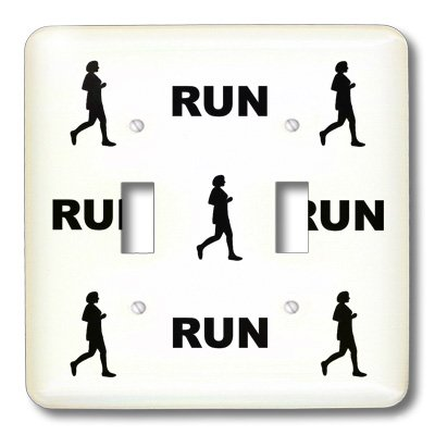 3dRose lsp/_60615/_2 Black Silhouette Painting Of A Woman Runner Running and The Word Run Pattern Double Toggle Switch