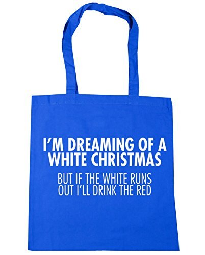 Out Cornflower I'm 10 Red If 42cm Blue Runs The Dreaming Gym White Tote a of x38cm Beach I'll Shopping White HippoWarehouse Bag But The Drink Christmas litres Pqd4P