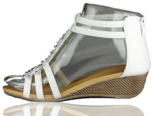 RoMaAn's IDeal Fashion Ladies Womens Strappy Girls Gladiator Flower DAIMENTE Casual Wedge Sandals Size 3-8 White tvxVv