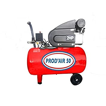 PRODAIR PRODAIR50H Compresseur 50 litres 2 CV Coaxial Huile, Gris ... 00b47c14cda3