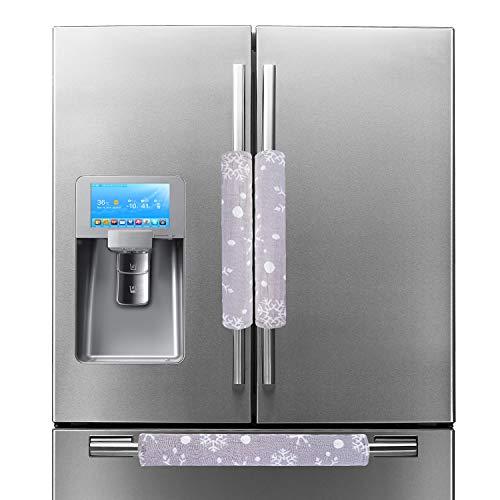 EDLDECCO Handicraft Refrigerator Door Handle Covers Fridge Oven Dishwasher Handle Protectoer White Snowflake Grey Bottom