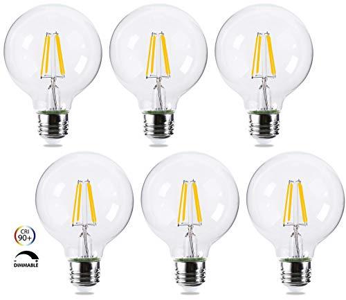 G25 Dimmable Globe LED Light Bulbs 40W Equivalent E26 Base - FLSNT Clear Decorative LED Light Bulbs, 5.5W, 2700K Soft White, 500LM, CRI90, 6 Pack