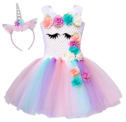 Cotrio Girls' Unicorn Rainbow Tulle Tutu Skirt Toddler Costumes Dress Up with Headband Halloween Party Fancy Dresses 2-12 Years (Size 10, 10-12 Yrs, White)]()