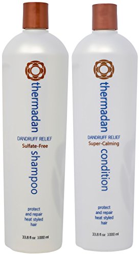 Thermafuse Thermadan Shampoo & Conditioner Duo (33.8 oz) FDA Approved Anti Dandruff Treatment is Sulfate-Free, Anti-Flake, Anti-Itch with Tea Tree Oil - Daily Use for All Hair Types - Vegan