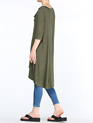 Mordenmiss Women's New Half Sleeve High Low Loose Tunic Tops