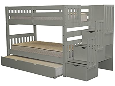 Bedz King Stairway Bunk Bed Twin over Twin with 3 Drawers in the Steps and a Twin Trundle, Gray