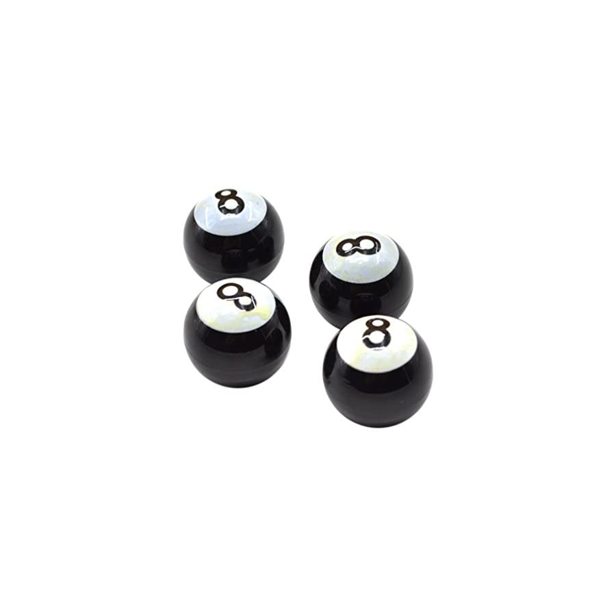 Lychee Car Bicycle Bike Schrader Valve Cap Dust Cover 4 Pcs Wheel Tire Tyre Decor Snooker Ball 8
