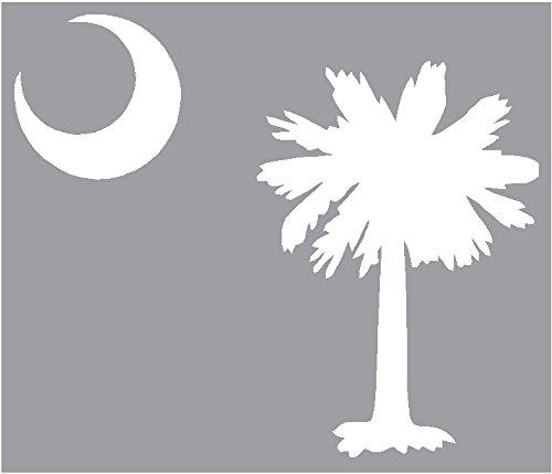 (Sassy Stickers Palmetto Tree Moon SC Flag White Decal Window Sticker)