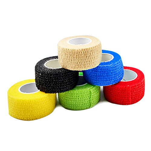 Self Adherent Elastic (Self Adherent Wrap Tape Medical Cohesive Bandages Flexible Stretch Athletic Strong Elastic First Aid Tape for Sports Sprain Swelling and Soreness on Wrist and Ankle colorful 6 Pack 1Inch X 5Yards)