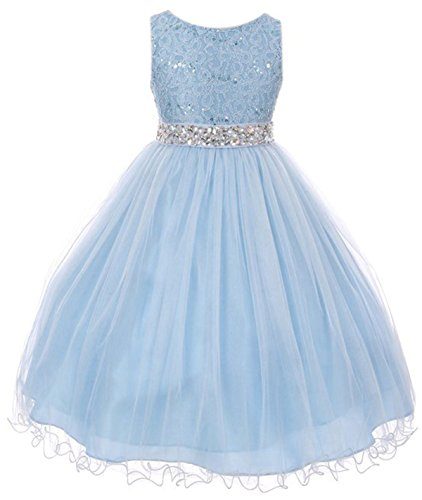 Big Girls Sleeveless Sequins Rhinestones Tulle Pageant Flower Girl Dress Ice Blue 12 (Big Kids Ice Blue Apparel)