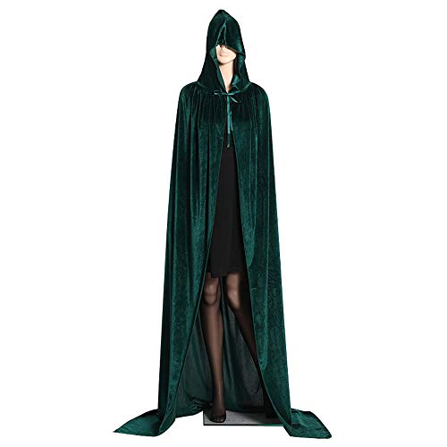 Alapaste Unisex Death Hooded Cloak Halloween Cosplay Costume Devil Party Witch Wicca Vampire Cape Masquerade Role Play Costume Cape for Men Women Adult ()
