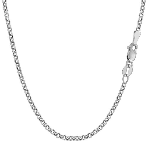 14k White Solid Gold Round Rolo Link Chain Bracelet, 2.3mm, 7