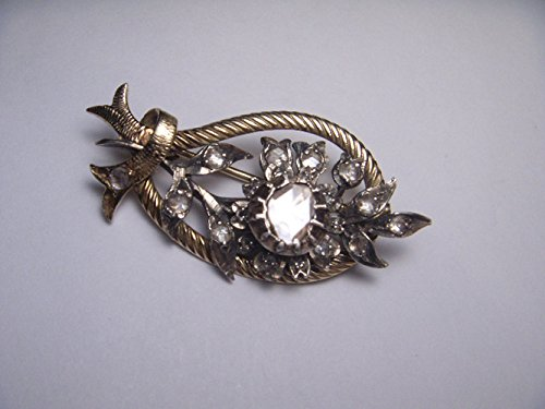 Stunning Antique 14K Yellow Gold Flower Floral Raw Diamond Brooch Pin by GEMSforyou