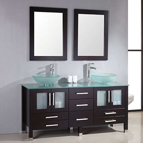 71 Inch Espresso Modern Bathroom Double Vanity Set-''Lafayette'' (Chrome Faucets) by The Tub Connection