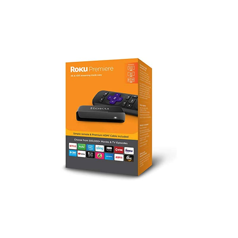 Roku Premiere | 4K/HDR/HD Streaming Player with IR Remote and Premium HDMI Cable (2018)