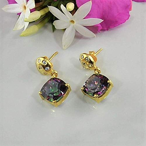 SIVALYA Angel Aura Mystic Quartz Earrings in Gold Vermeil - Luxurious Gift Packaging Included ()