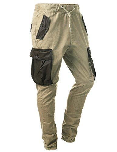 "URBANCREWS Mens Hipster Hip Hop PU Cargo Twill Pants KHAKI-30""WAIST/ 30""LENGTH"