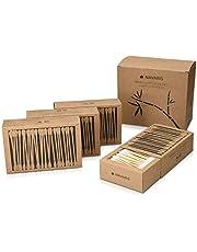 Navaris Bastoncillos para los oídos de bambú y algodón - Palillos orejas 100% reciclables biodegradables y ecológicos - Pack de 4 (800 piezas)