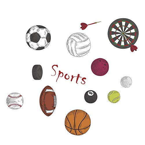 (decalmile Sports Wall Decals Basketball Football Wall Stickers Peel and Stick Removable Wall Art for Kids Bedroom Boys Room Nursery Classroom)