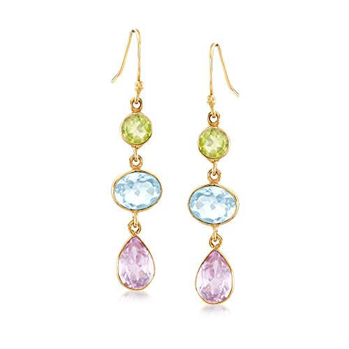 . T.W Multi-Stone Drop Earrings in 18kt Yellow Gold Over Sterling Silver ()