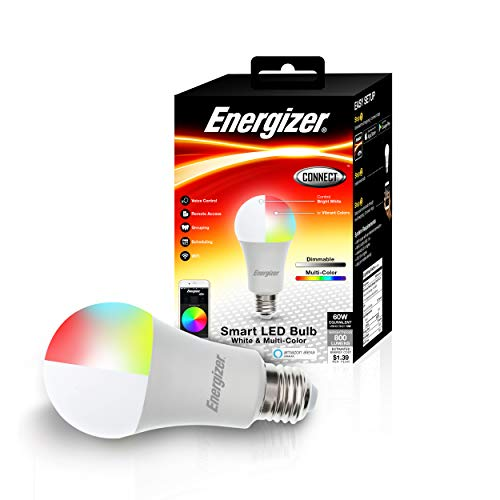 Energizer Connect Smart A19 LED White & Multi-Color RGB Light Bulb with Voice Control and Remote Access Through Your Smartphone | Compatible with Alexa and Google Assistant