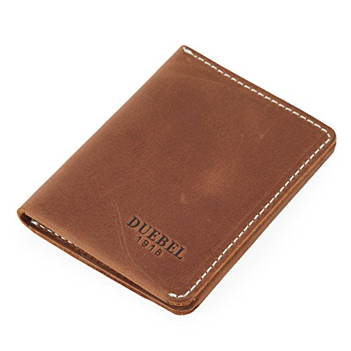 DUEBEL Small Mens Leather Wallet,Front Pocket Wallet for Men, Minimalist Style,Full Grain Leather Business Card Case (Vintage Brown) ()