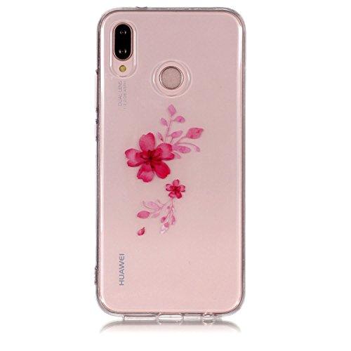 Yobby Coque Clair pour Huawei P20 Pro, Huawei P20 Pro Fleurs Modle Conception Etui Transparent Svelte Doux Flexible avec TPU Caoutchouc Pare-Chocs Protecteur Arrire Housse-Rouge Cerise Fleur Rouge Cerise Fleur