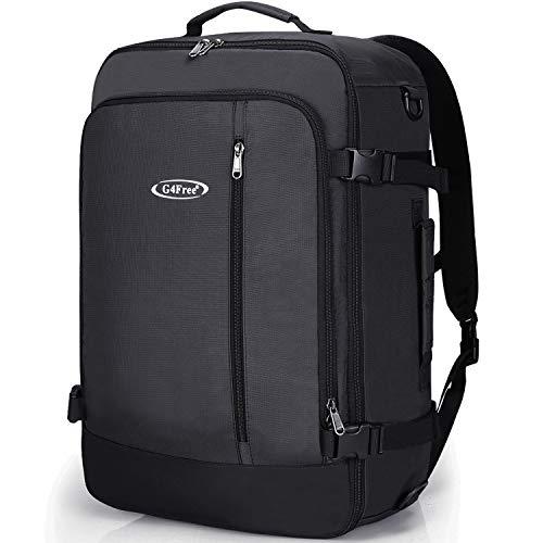 G4Free Carry On Travel Backpack 40L Flight Approved 3-Way Converted Weekender Backpack for Men Women Black