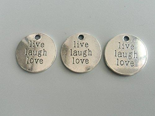 Bolin - live laugh love word plate Charms Antique Silver Tone word plate Pendant Metal DIY Bracelet Zipper Pulls Bookmark Keychains 20mm - 10 Pcs