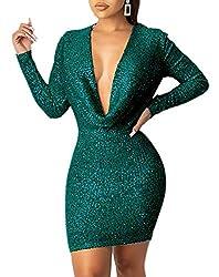 Green Colour Sequin Dress Deep V Neck & Long Sleeve