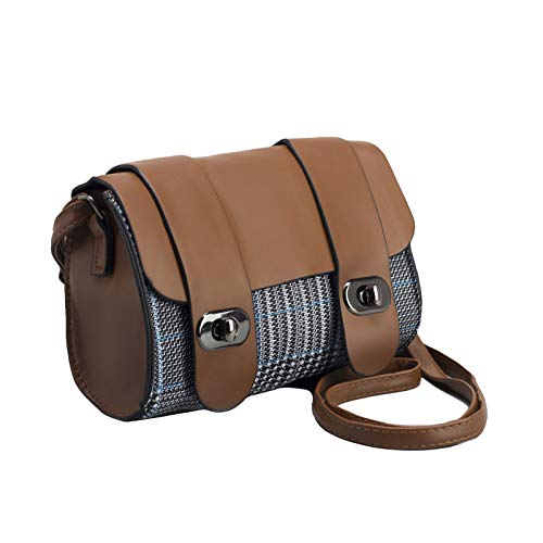 Brown Barrel Handbag |Tweed Satchel Tote Bag |Light Beige Messenger Flap Purse (Brown)