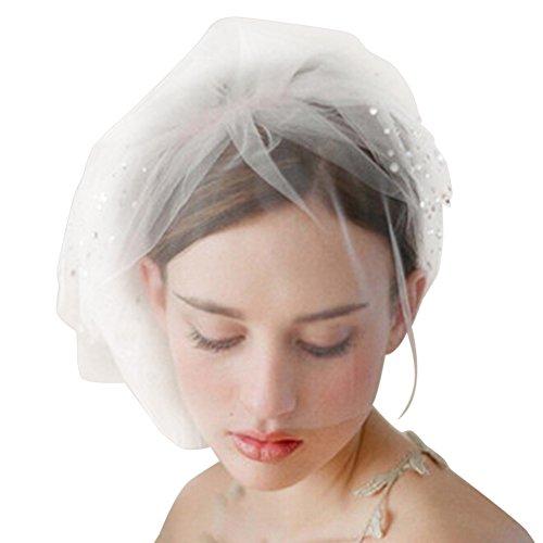 Beautiful One Tier (TonTech Beautiful Wedding Bridal Bride Net Birdcage Short Face Veils Hair Headpiece Rhinestone)