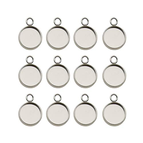50pcs Fit 10mm Stainless Steel Round Blank Bezel Pendant Trays Base Cabochon Settings Trays Pendant Blanks for Jewelry Making DIY Findings