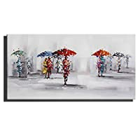 CUUYQ Oil Paintings on Canvas Wall art, 100% Hand Paintings Fantasy umbrella art Paintings Inside Framed Hanging Contemporary Oil Painting Wall Decoration,30x60cm