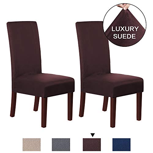 - H.VERSAILTEX Water Repellent Super Stretch Modern Velvet Plush Suede Fabric High Chair Covers for Family, Chair Protector Cover Dining Room Removable & Washable, 2 Pack, Brown