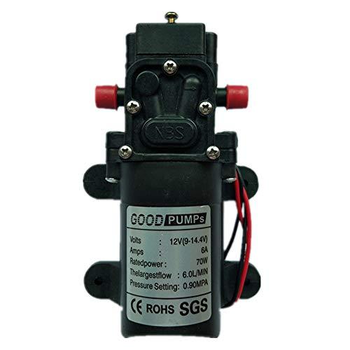 (VerRich Diaphragm Pump 12V DC Water Pump 70W 6A Straight Interface Self Priming Sprayer Pump 6 L/Min 0.9MPA 131 PSI for RV Camper Marine Boat Garden (Straight Connector))