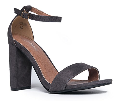 Strappy Block High Heel, Grey Suede, 8 B(M) US