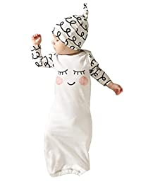 Newborn Baby Girls Sleepy Eyes+Rosy Cheeks Gown Hat Sleepwear Sleeping Bags