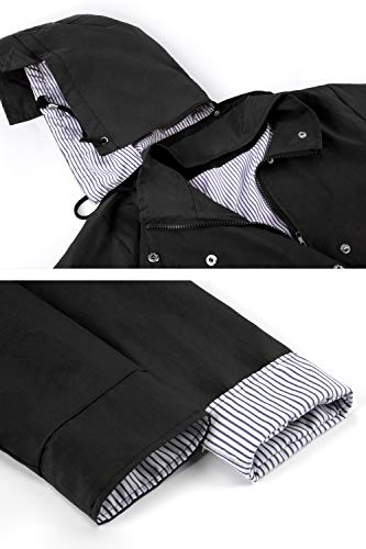 Twinklady Rain Jacket, Long Style-Black