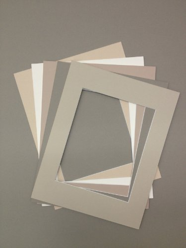 Pack of 5 18x24 Picture Mats, 5 Beige Colors, with White Core Bevel Cut for 13x19 Pictures