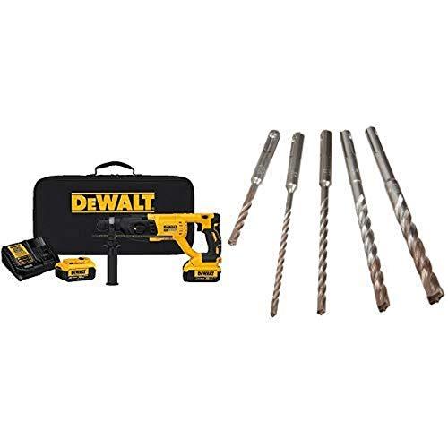 "DEWALT DCH133M2 20V Max XR Brushless 1"" D-Handle Rotary Hammer Kit with DEWALT DW5470 5-Piece Rock Carbide SDS Plus Hammer Bit Set"
